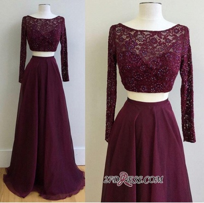 Long-Sleeve Burgundy Luxury Lace Two-Pieces Evening Dress UK PT0177_1