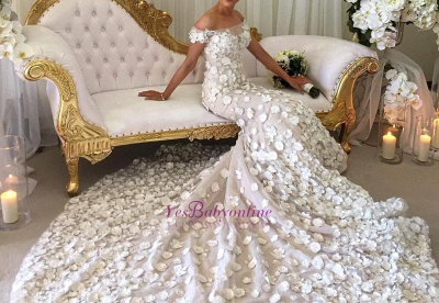 Long Appliques Sexy Mermaid Bridal Gowns | Off-the-Shoulder Wedding Dress_1