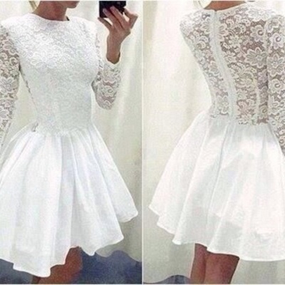 Modern Long Sleeve White Homecoming Dress UK lace Short prom Gowns TH019_3