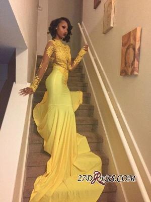 Appliques Long-Sleeve Yellow Lace High-Neck Beautiful Mermaid Prom Dress UK BK0_3
