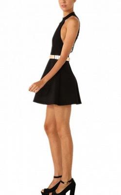 Elegant Black Halter Lace Sleeveless Homecoming Dress UK With Golden Sash_4