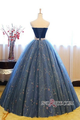 Sweetheart Embroidery Exquisite Pearls Puffy Prom Dress UKes UK Online_4