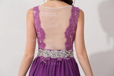 Newest Illusion Purple A-line Evening Dress UK Lace Appliques Beadings_4