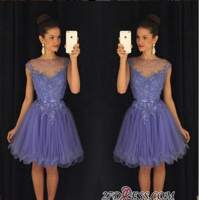 A-Line Beadings Cap-Sleeves Tulle Short Lavender Homecoming Dress UK AP0 BA3684_2
