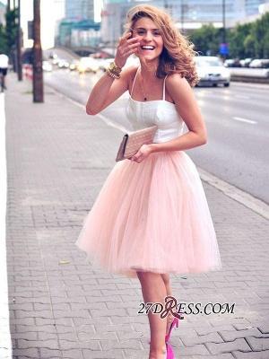 White Elegant Tulle Pink Spaghetti-Strap Sleeveless Two-Piece-Homecoming-Dress UK_4