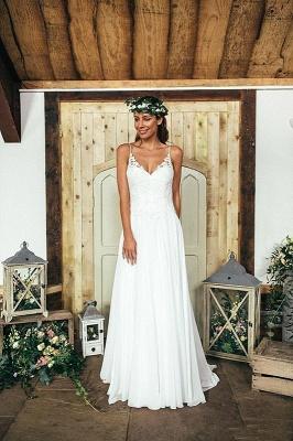 Summer Beach Spaghetti Straps Lace Wedding Dress Long_4