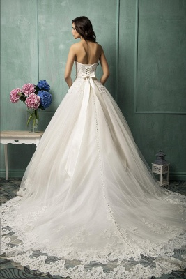 Elegant Sweetheart Sleeveless Tulle Wedding Dress With Lace Appliques Bow_3