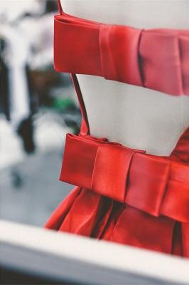 High Quality Bateau Red Short Homecoming Dress UK Bowknot_3