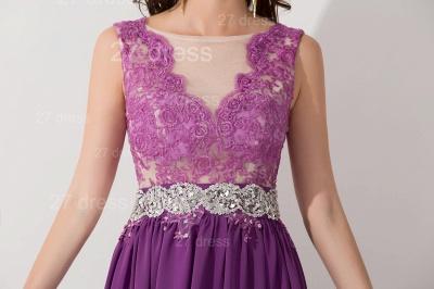 Newest Illusion Purple A-line Evening Dress UK Lace Appliques Beadings_5