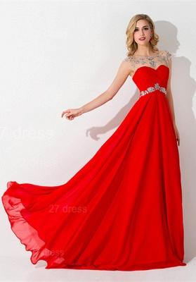 Sexy Chiffon Red Crystals Evening Dress UK A-line Illusion_4
