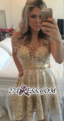 A-line Gold Short-Sleeves Beadings Short Lace Homecoming Dress UK_4