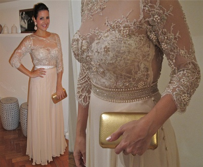 New Lace Vestido De Renda prom Gowns 3 / 5 Sleeves Chiffon party Dress UKes UK with Pearls & Crystals_4