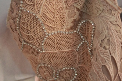 New Lace Vestido De Renda prom Gowns 3 / 5 Sleeves Chiffon party Dress UKes UK with Pearls & Crystals_3
