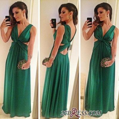 Green A-Line Sleeveless Floor-Length V-Neck Elegant Prom Dress UK_1