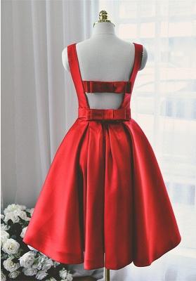 High Quality Bateau Red Short Homecoming Dress UK Bowknot_2