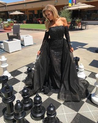 Elegant Black Lace Long Sleeve Evening Dress UK Long Sleeve Tulle Party Dress UK_3
