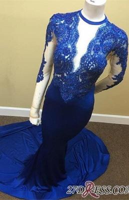 Royal-Blue Appliques Sheath Sheer Lace Tulle Long-Sleeve Scoop Prom Dress UK  JJ0119_3