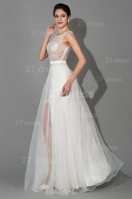 Elegant Cap Sleeve Evening Dress UK Front Split Crystals_2