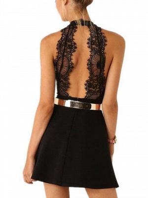 Elegant Black Halter Lace Sleeveless Homecoming Dress UK With Golden Sash_3
