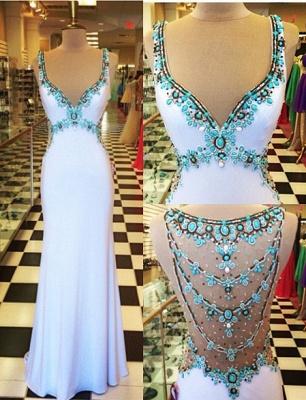 Gorgeous Beadings Crystal V-Neck Evening Dress UK Sleeveless Long Party Gowns_5