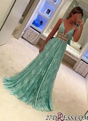 Lace Deep-V-Neck Mint-Green Sexy Sheer A-line Prom Dress UKes UK BA3969_2