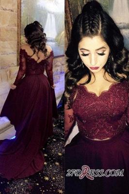 Hi-lo Lace-Appliques Newest A-line Long-Sleeve Beads Prom Dress UK SP0308_3