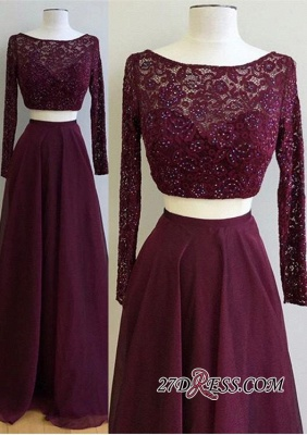 Long-Sleeve Burgundy Luxury Lace Two-Pieces Evening Dress UK PT0177_3