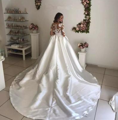 Chic Long Sleeve Lace Appliques Wedding Dress Ball Gown Zipper Button Back_3