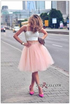 White Elegant Tulle Pink Spaghetti-Strap Sleeveless Two-Piece-Homecoming-Dress UK_3