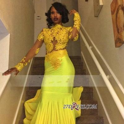 Appliques Long-Sleeve Yellow Lace High-Neck Beautiful Mermaid Prom Dress UK BK0_1