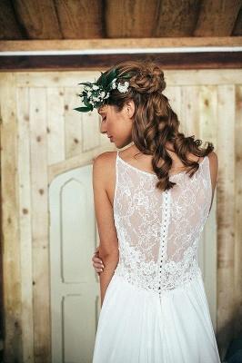 Summer Beach Spaghetti Straps Lace Wedding Dress Long_3