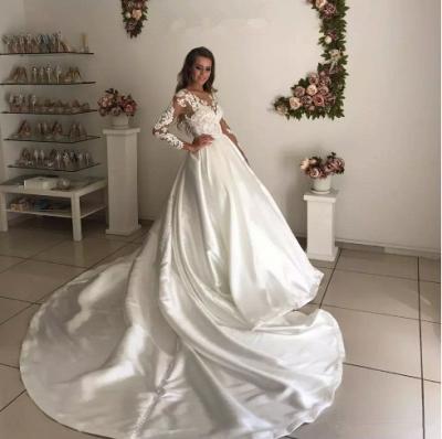 Chic Long Sleeve Lace Appliques Wedding Dress Ball Gown Zipper Button Back_4