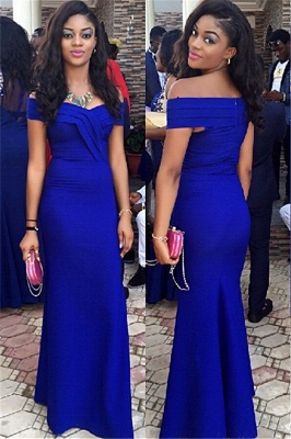 Sexy Royal Blur Mermaid Prom Dress UK off the shoulder Floor Length Party Gown_1
