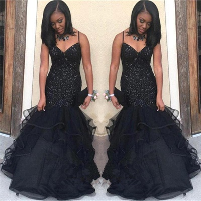 Black Sequins Mermaid Prom Dress UK | Spaghetti-Straps Party Gowns BK0_3