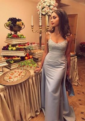 Luxury Sleeveless Straps Evening Dress UK Lace Appliques Mermaid With Ruffles_4