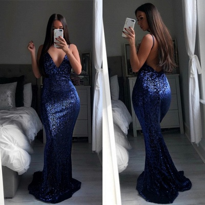 Mermaid Prom Dress UK | Spaghetti-Straps Sequins Long Evening Gowns BA9528_3