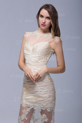 Elegant High Neck Lace Appliques Evening Dress UK Sweep Train_5