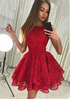 Luxury Red Lace Homecoming Dress UK | Short Party Dress UK_1