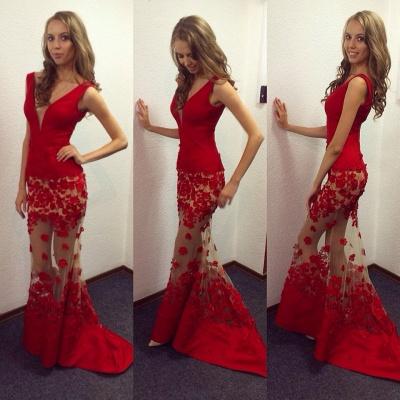 Elegant Red V-Neck Mermaid Prom Dress UKes UK Sheer Skirt long Lace_3