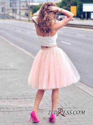 White Elegant Tulle Pink Spaghetti-Strap Sleeveless Two-Piece-Homecoming-Dress UK_2