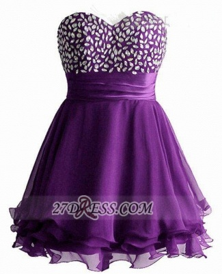 Sexy Sweetheart Sleeveless Short Homecoming Dress UK Crystals Lace-up Chiffon Purple Cocktail Gown_1