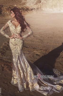 Mermaid Long-Sleeves Appliques Elegant Crystal Prom Dress UK BA4470_2