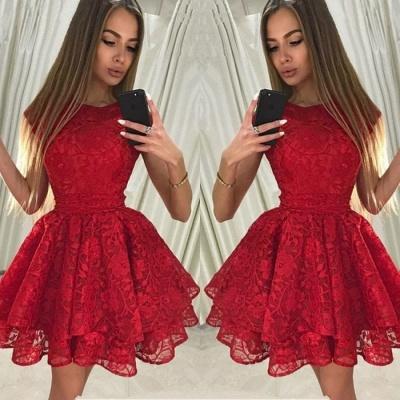 Luxury Red Lace Homecoming Dress UK | Short Party Dress UK_3