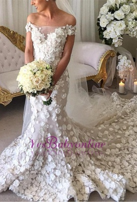 Long Appliques Sexy Mermaid Bridal Gowns | Off-the-Shoulder Wedding Dress_4