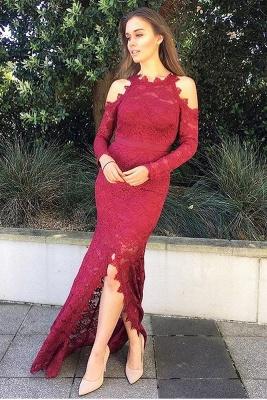 Luxury Long Sleeve Evening Dress UK | 2019 Mermaid Lace Prom Dress UK With Slit_1