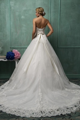 Elegant Sweetheart Sleeveless Tulle Wedding Dress With Lace Appliques Bow_2