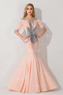 Modern Half Sleeve Mermaid Evening Dress UK Zipper Sweep Train_1