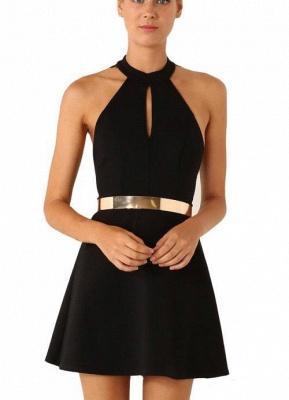 Elegant Black Halter Lace Sleeveless Homecoming Dress UK With Golden Sash_2