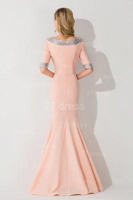 Modern Half Sleeve Mermaid Evening Dress UK Zipper Sweep Train_2