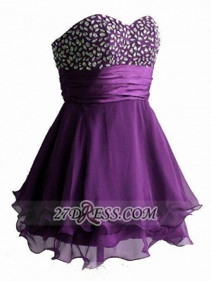 Sexy Sweetheart Sleeveless Short Homecoming Dress UK Crystals Lace-up Chiffon Purple Cocktail Gown_2